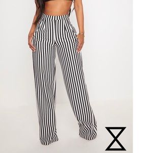 Prettylittlething stripe wide leg trousers